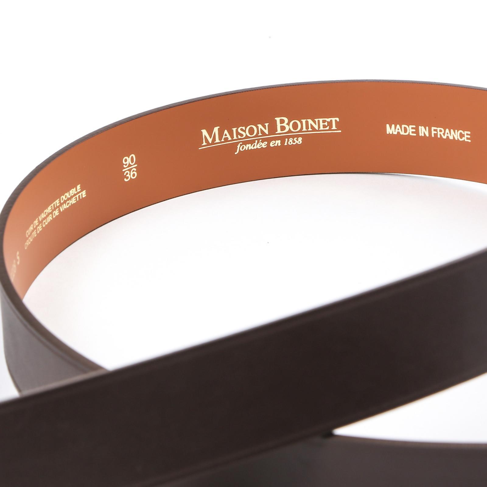 a35018fb593f CEINTURE CUIR LISSE MARRON   Maison Boinet