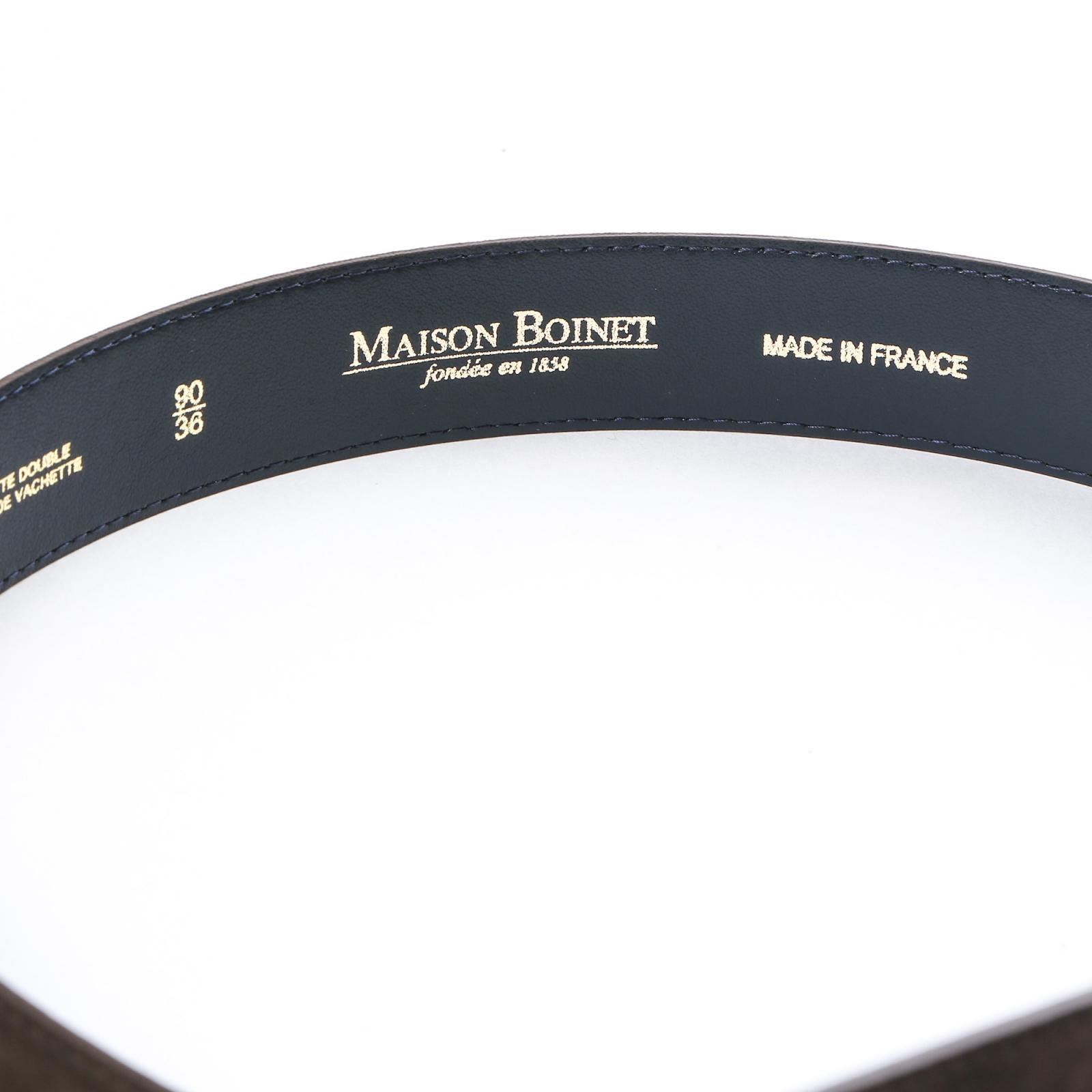 fa7e5294193e CEINTURE CUIR NUBUCK MARRON   Maison Boinet